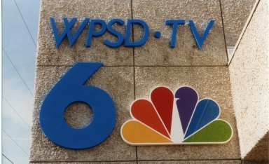 WPSD TV 6 and NBC logo at station entrance