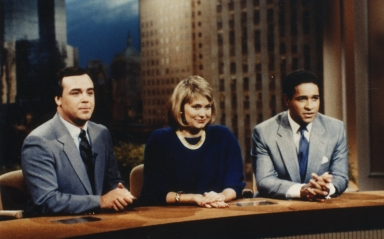 """News director Terry Reeves with Jane Pauley and Bryant Gumbel of the """"Today Show"""""""