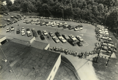 Visitors circling station parking lot at 25th anniversary open house