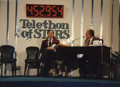 Dan Steele and host Ralph Emery at Telethon of Stars in Paducah (KY)