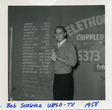 Bob Swisher in station studio during the Telethon
