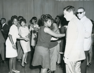 Dance Party host John Williams and teens in studio