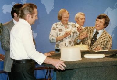 Bill Watson, Robert Croft, Tom Butler and Gary Roedemeier at station Christmas luncheon