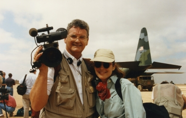 Chief photographer Doug Harnice and news anchor Kim Keelor