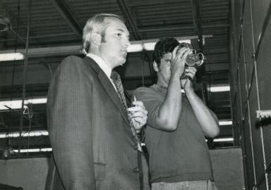 News director Tom Butler and photographer Doug Harnice at Vienna (IL) Correctional Center