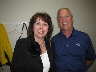 "Miinda Harnice and Bob Fesmire at ""old employees' luncheon"""