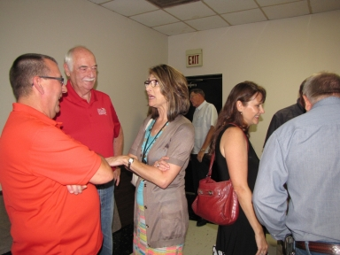 "Craig Sturm, Chuck Folsom, Bonnie Schrock and Andrea Underwood at ""old employees' luncheon"""