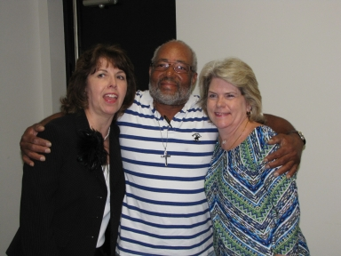 "Milinda Harnice, Percy Lee and Mary Karen Curtis at ""old employees' luncheon"""