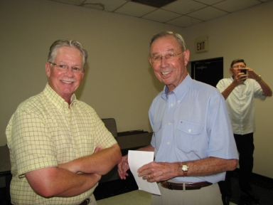 "Gary McMillin, Don Van Cleve and Charlie Katterjohn at ""old employees' luncheon"""