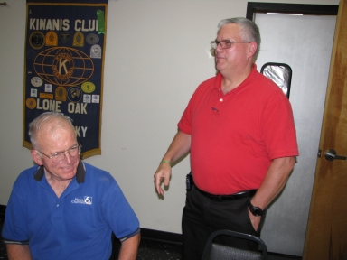 "Ernie Mitchell and Mark Hall at ""old employees' luncheon"""