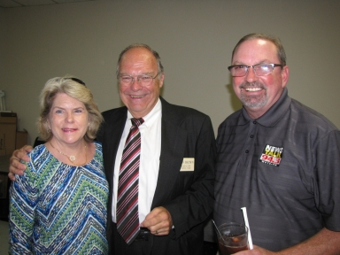 "Mary Karen Curtis, Glen Brown and Lew Jetton at ""old employees' luncheon"""
