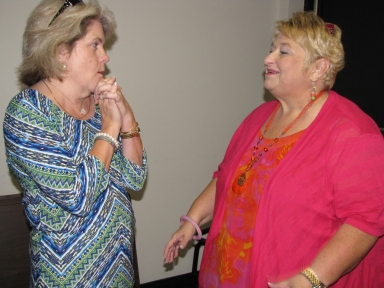 "Mary Karen Curtis and and Paula Weitlauf at ""old employees' luncheon"""