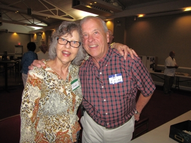 "Johanna Comisak Rhodes and Bob Fesmire at ""Old Timer's luncheon"""