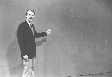 Meteorologist Cal Sisto in front of chroma wall
