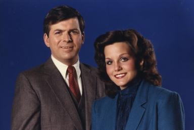 Reporter/anchor Ernie Mitchell and reporter/anchor Polly Van Doren