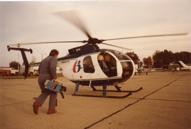 "Photographer Steve Morris getting ready to leave on ""Sky 6"""
