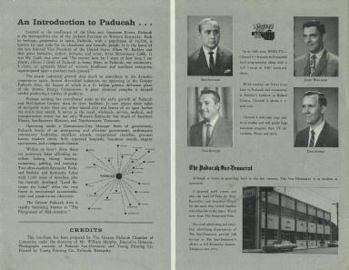 Brochure featuring sports director Bob Swisher, news director Tom Butler, anchor John Williams and anchor Dan Steele