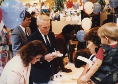 Polly Van Doren, Ernie Mitchell, Tom Butler and Sam Burrage at promotion at Kentucky Oaks Mall