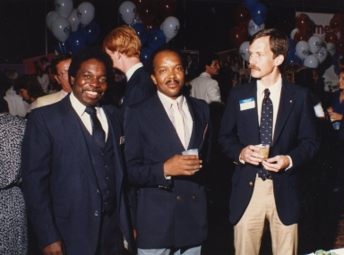 Reporter/anchor Sam Burrage, photographer Joe Wilson and advertiser Allan Rhodes, Jr. at sponsors' party