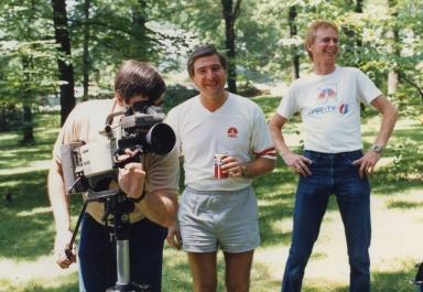 Photographer Kenny Jones, promotion director Kurt David Englehardt and photographer Jim Ethridge at news department promotion shoot