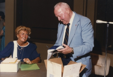 "C.R. ""Buck"" Jones and his wife at his retirement"