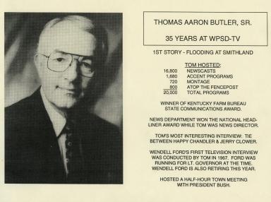 Career highlights for news vice-president Tom Butler