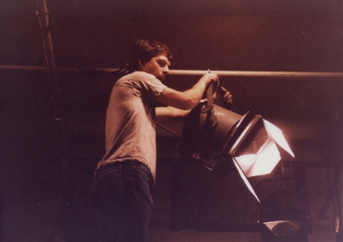 Dan Wilson setting lights in studio