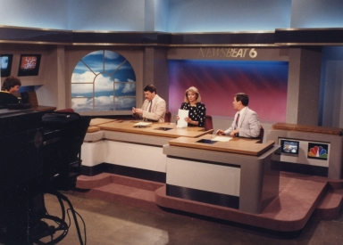 Reporter/anchor Ron Beaton, reporter/anchor Vicki Dortch and sports reporter/anchor Paul Brown on new news set