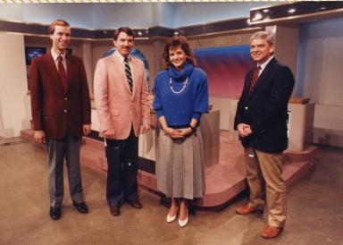 Meteorologist Cal Sisto, reporter/anchor Ron Beaton, reporter/anchor Polly Van Doren and sports director Larry McIntosh on new news set