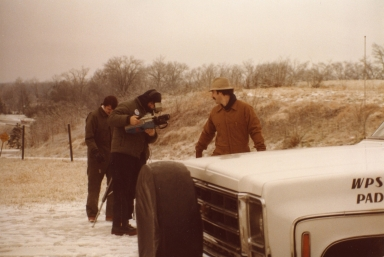 Reporter/anchor Ron Beaton and photographers Kenny Jones and Bob Crosno at live shot in winter