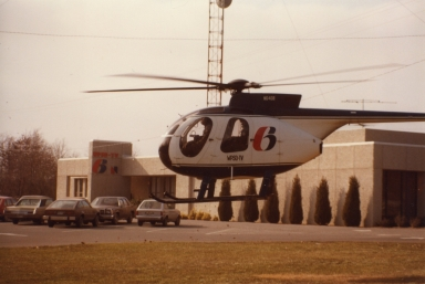 """Sky 6"" landing in parking lot by station"