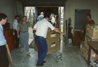 Station equipment being unloaded