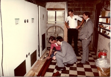Chief engineer Don Brown, with operations manager Dan Steele, vice-president/general manager John Williams and engineer Fred Cline