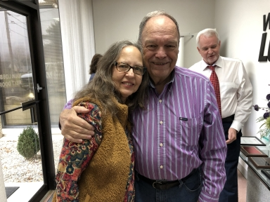 Former news director Johanna Comisak Rhodes and retired director Glen Brown