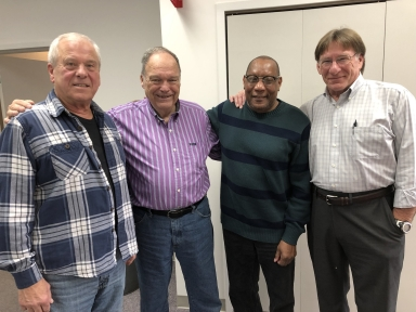 Former director Bob Fesmire, retired director Glen Brown, floor director Gaylon Grubbs and former tape operator Garry Wheatley