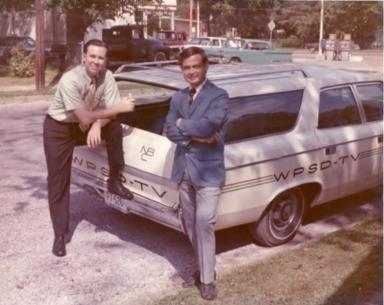 Newscasters Dan Steele and Tom Siler