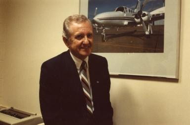 Corporate pilot Bill Watson in his office