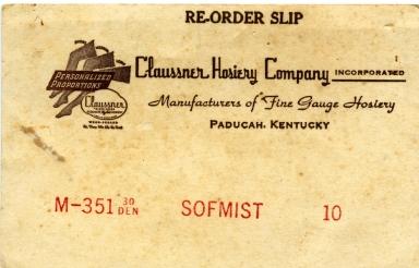 Claussner Hosiery Re-order Slip