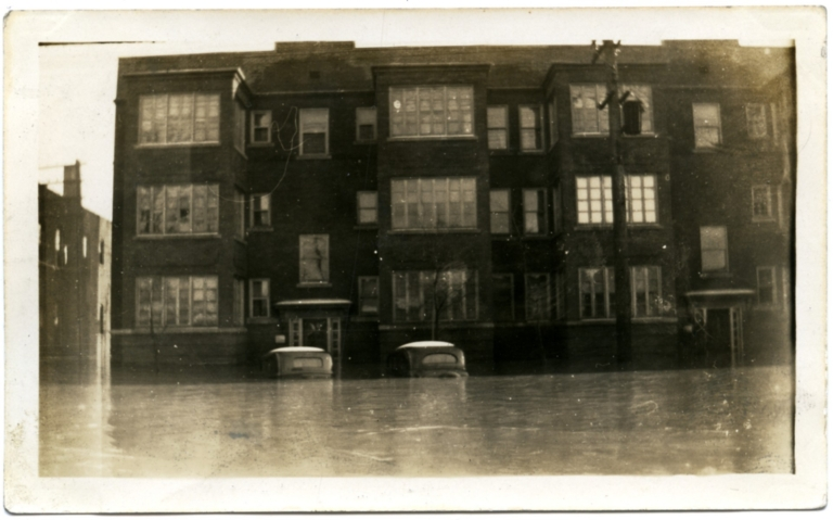 Madison Apartments in Lowertown during '37 flood.