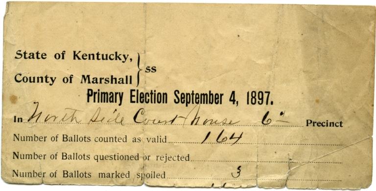 1897 Voting Tally Sheet