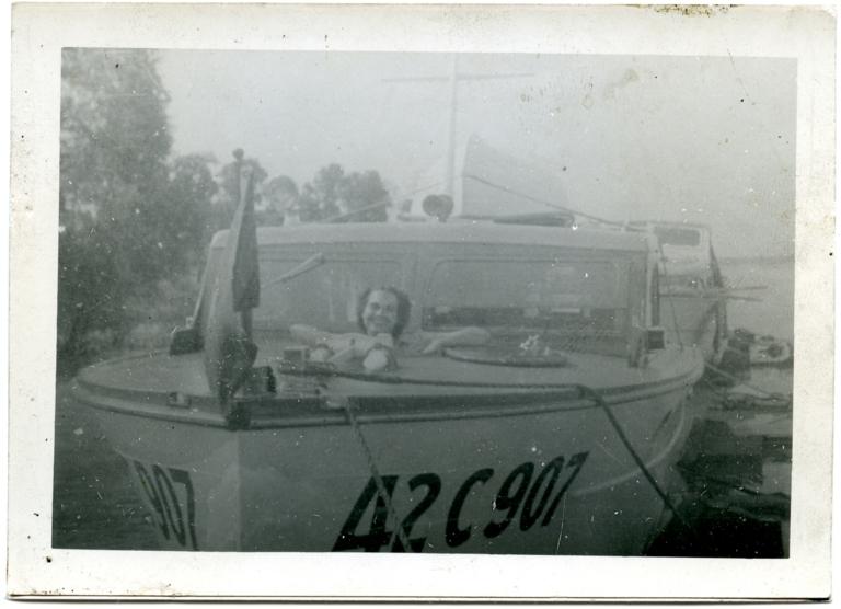 Lorraine in a boat