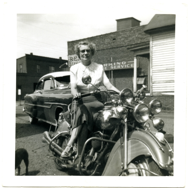Lucille Johnson on a motorcycle