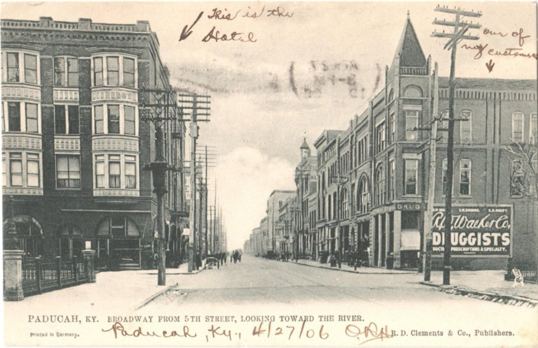 Paducah, KY., Broadway From 5th Street, Looking Toward The River.