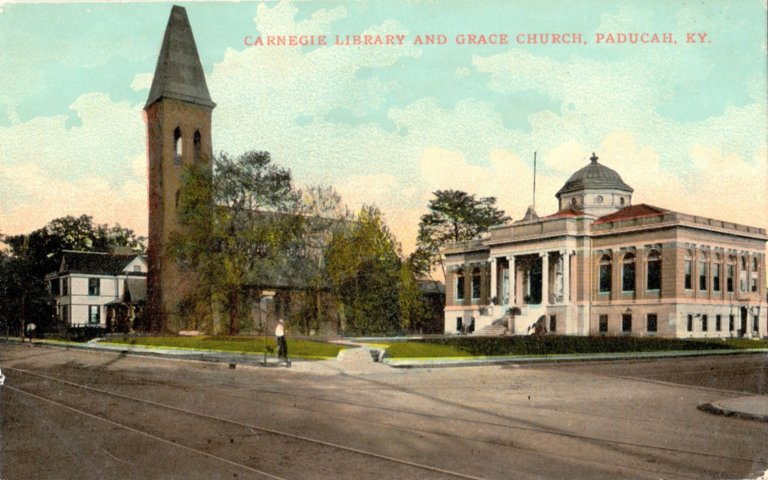 Carnegie Public Library and Grace Church, Paducah, KY.