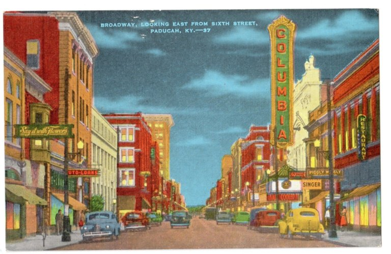 Broadway, Looking East from Sixth Street, Paducah, KY-37