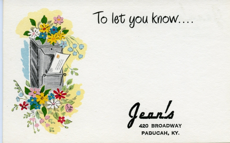 Promotional post card for Jean's, 420 Broadway in Paducah (KY)