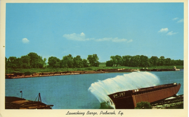 Launching barge at Marine Ways on Ohio River in Paducah (KY)