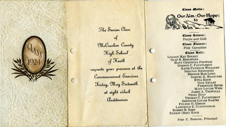 Heath High School Class of 1924 Graduation Announcement