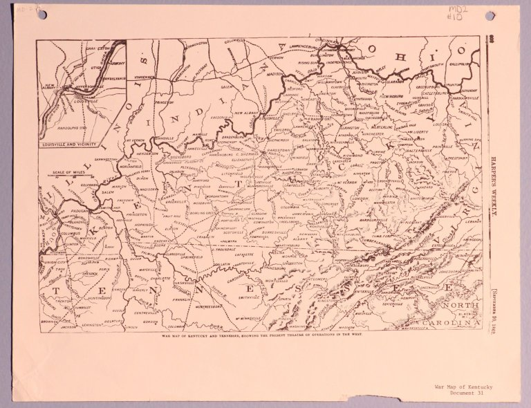 Harper's Weekly - War Map of KY and TN showing the present theatre of operations in the west