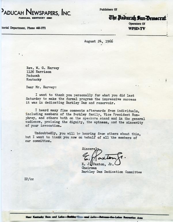 E.J. Paxton Congratulates W.G. Harvey